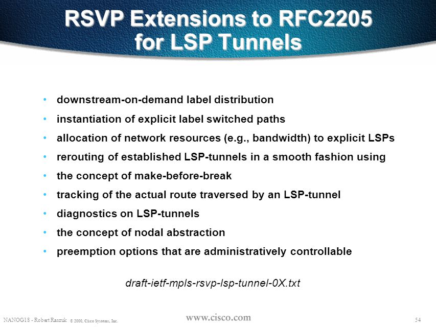 RSVP Extensions to RFC2205 for LSP Tunnels