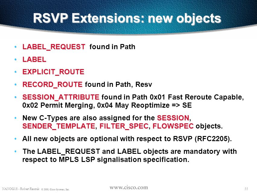 RSVP Extensions: new objects