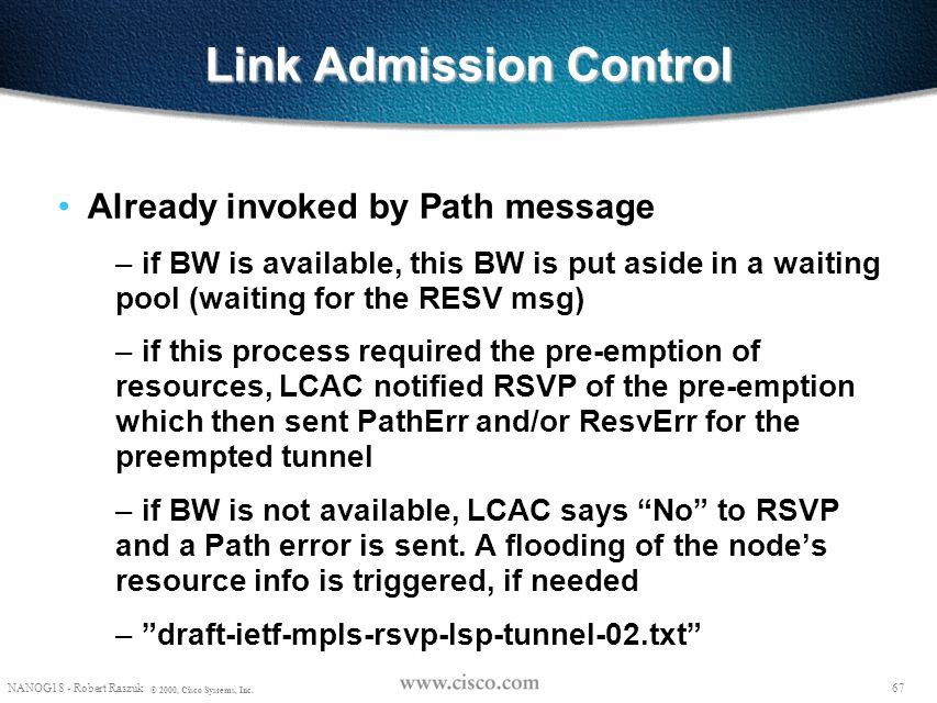 Link Admission Control