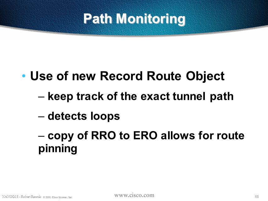 Path Monitoring Use of new Record Route Object