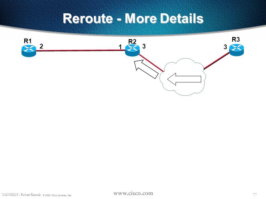 Reroute - More Details R3 R1 R2 2 1 3 3