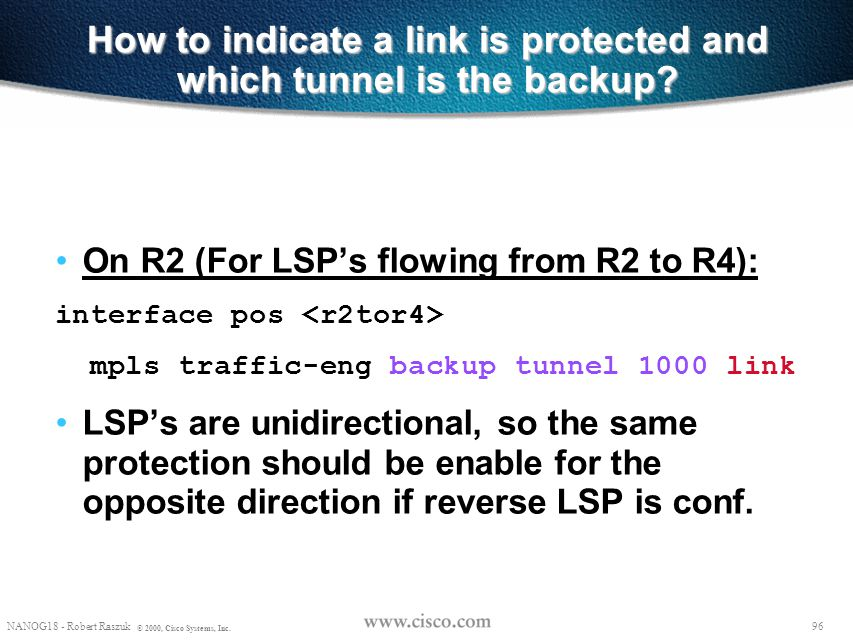 How to indicate a link is protected and which tunnel is the backup