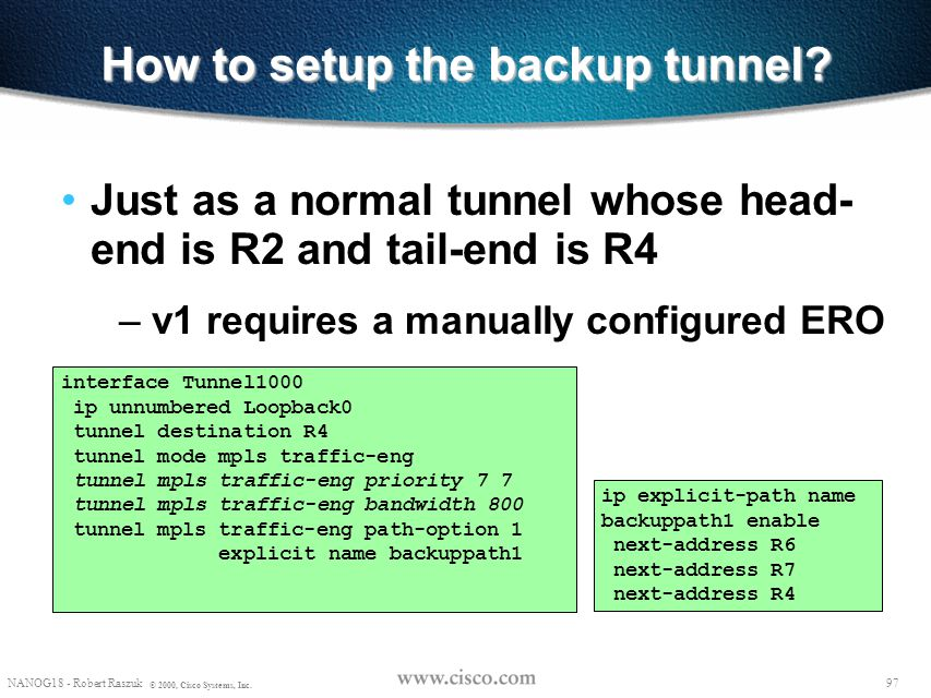 How to setup the backup tunnel