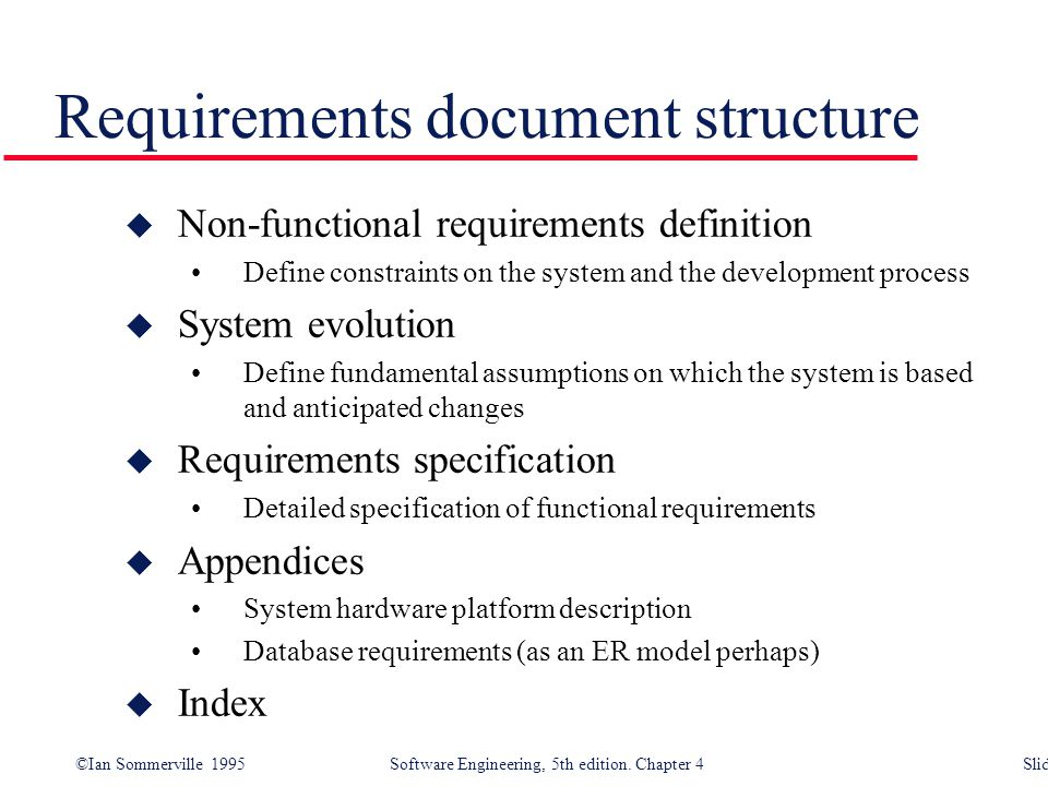 Requirements document structure