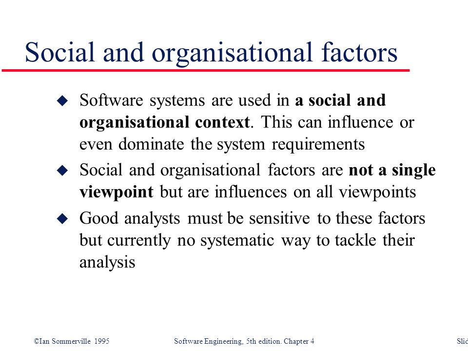 Social and organisational factors