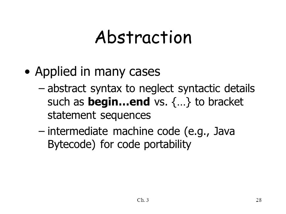 Abstraction Applied in many cases