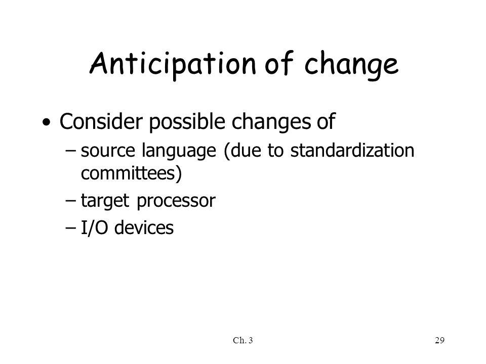 Anticipation of change