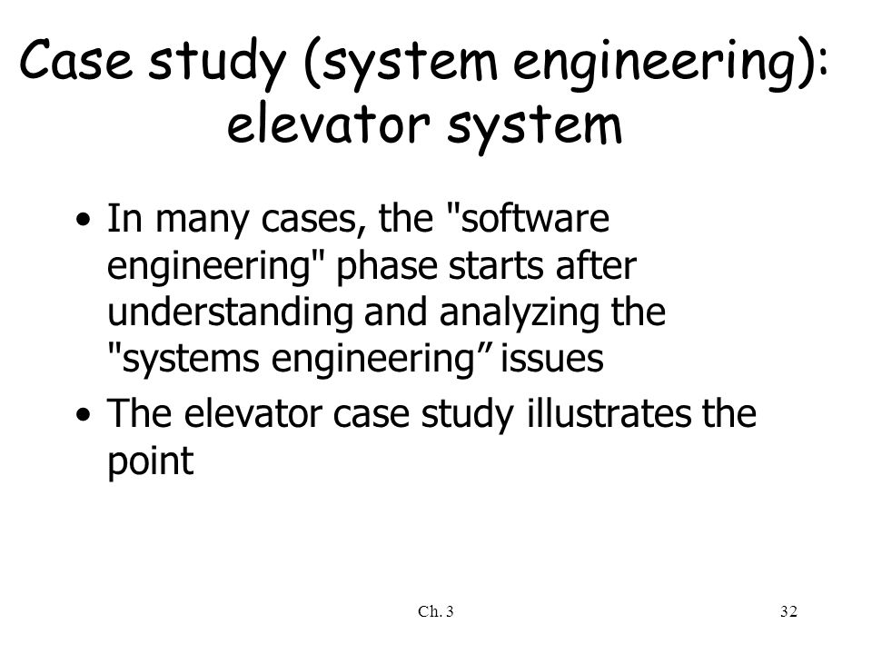 Case study (system engineering): elevator system
