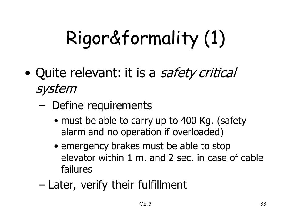 Rigor&formality (1) Quite relevant: it is a safety critical system