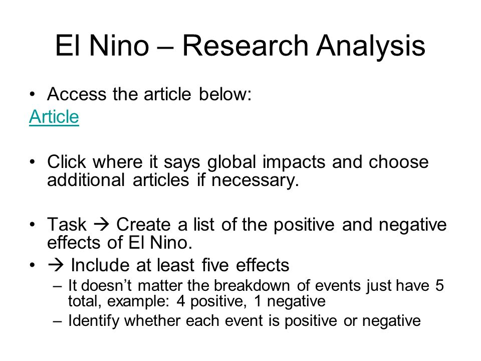 El Nino – Research Analysis