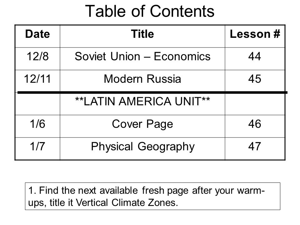 Table of Contents Date Title Lesson # 12/8 Soviet Union – Economics 44