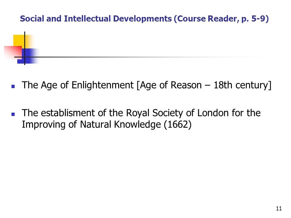 Social and Intellectual Developments (Course Reader, p. 5-9)