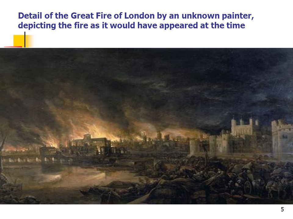 Detail of the Great Fire of London by an unknown painter, depicting the fire as it would have appeared at the time