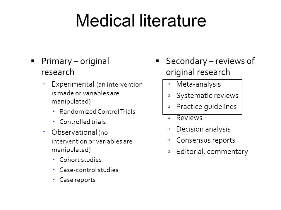 Medical literature Primary – original research