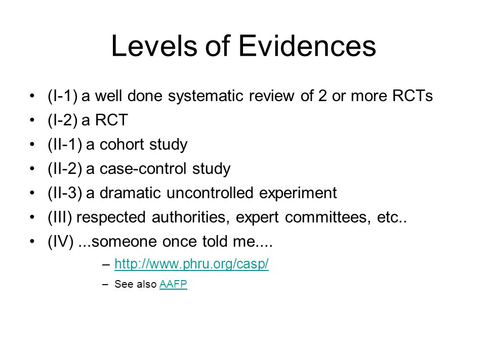 Levels of Evidences (I-1) a well done systematic review of 2 or more RCTs. (I-2) a RCT. (II-1) a cohort study.
