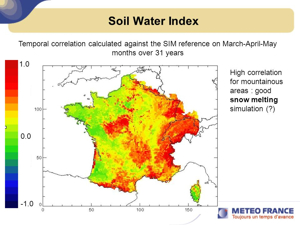 Soil Water Index Temporal correlation calculated against the SIM reference on March-April-May months over 31 years.