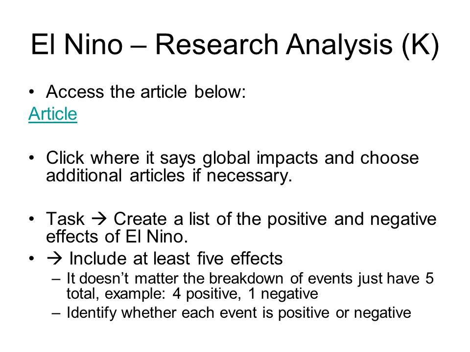 El Nino – Research Analysis (K)