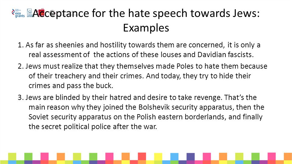 Acceptance for the hate speech towards Jews: Examples