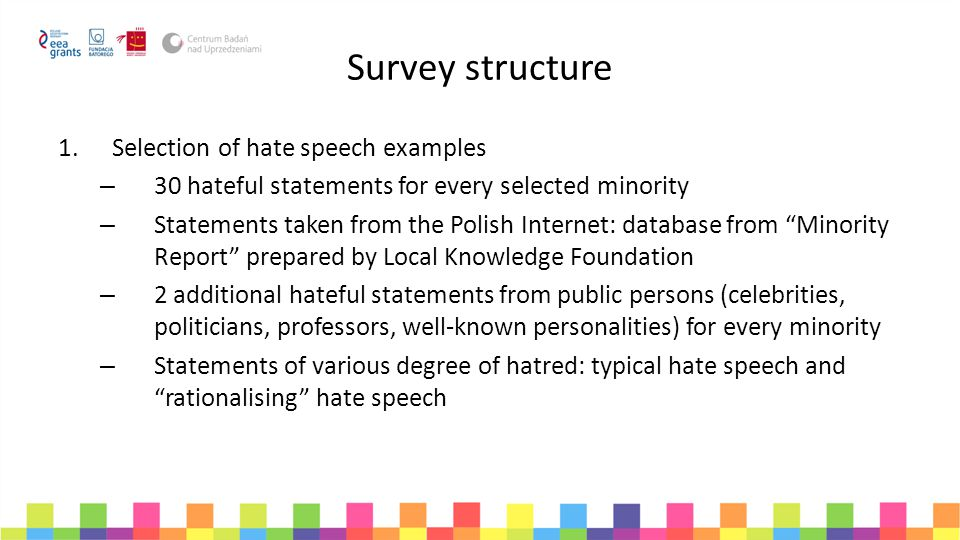 Survey structure Selection of hate speech examples