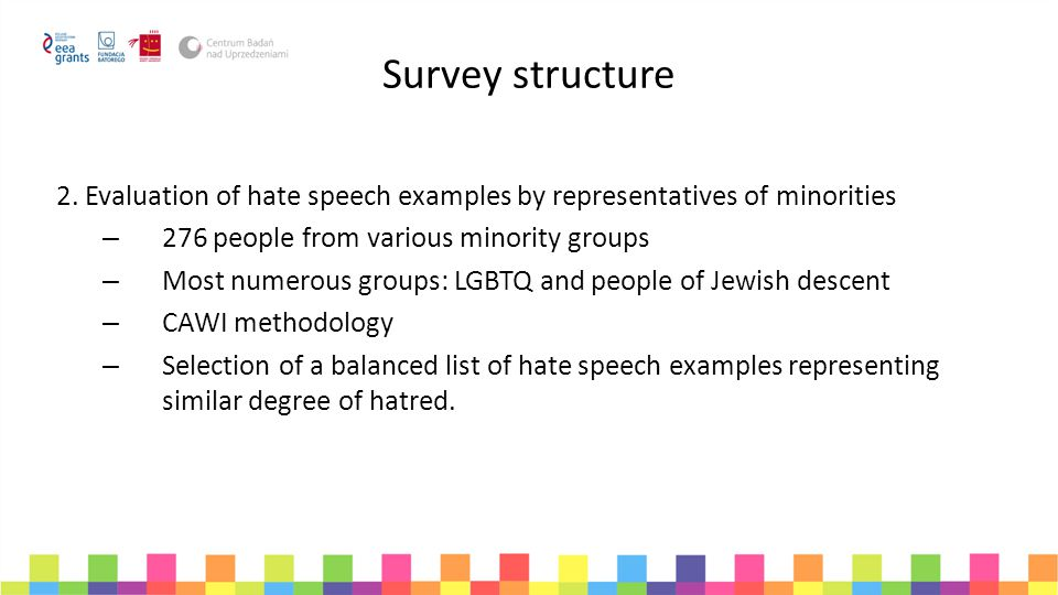 Survey structure 2. Evaluation of hate speech examples by representatives of minorities. 276 people from various minority groups.