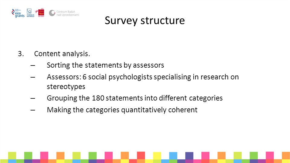 Survey structure Content analysis. Sorting the statements by assessors
