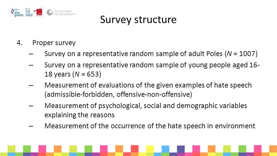 Survey structure Proper survey