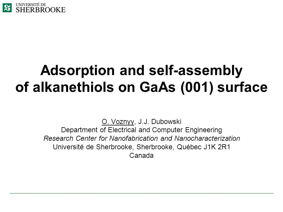 Adsorption and self-assembly of alkanethiols on GaAs (001) surface