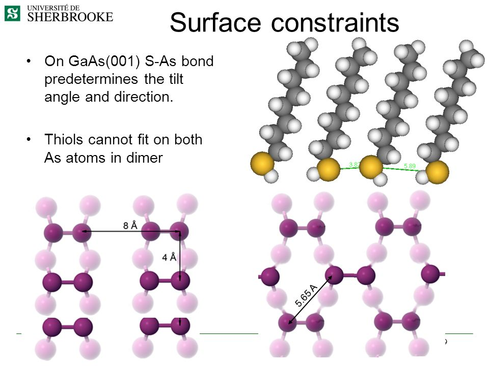 Surface constraints On GaAs(001) S-As bond predetermines the tilt angle and direction. Thiols cannot fit on both As atoms in dimer.