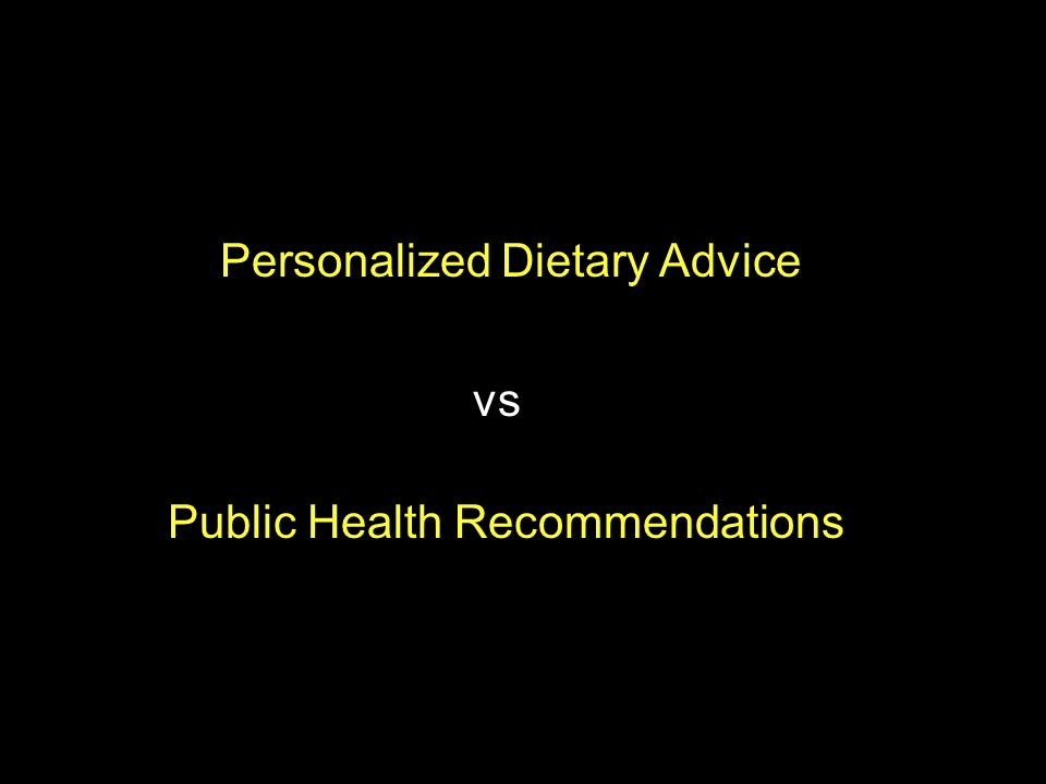 Personalized Dietary Advice