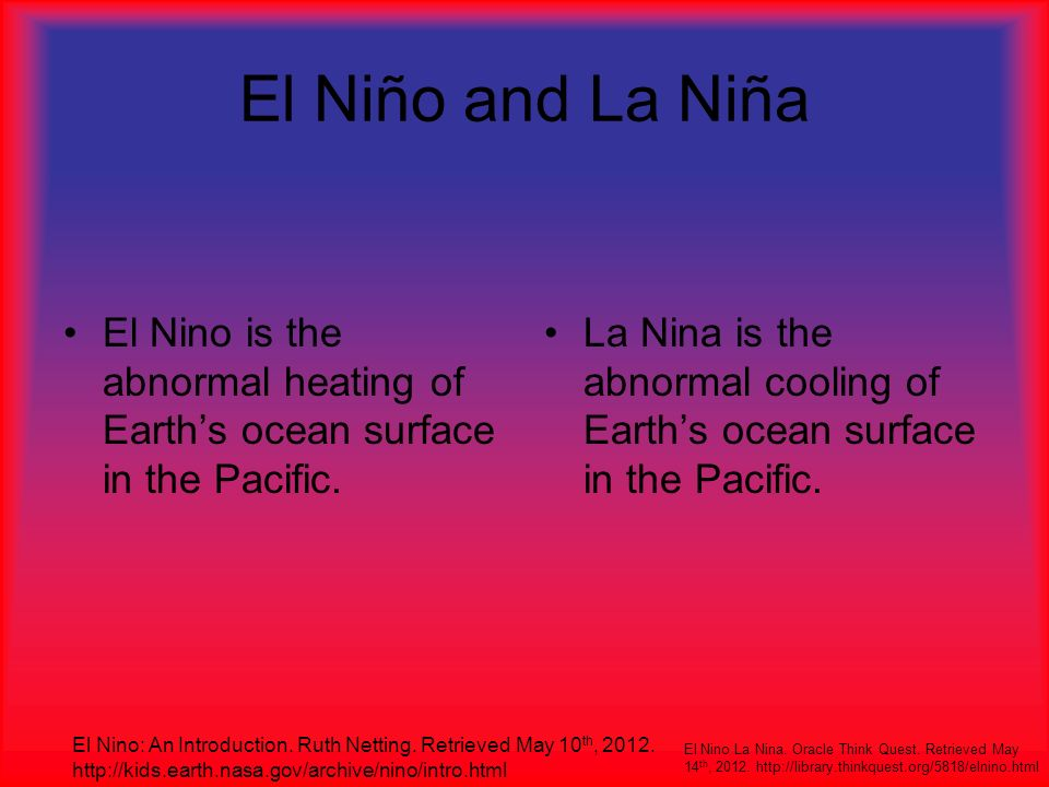 El Niño and La Niña El Nino is the abnormal heating of Earth's ocean surface in the Pacific.