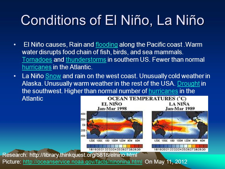 Conditions of El Niño, La Niño