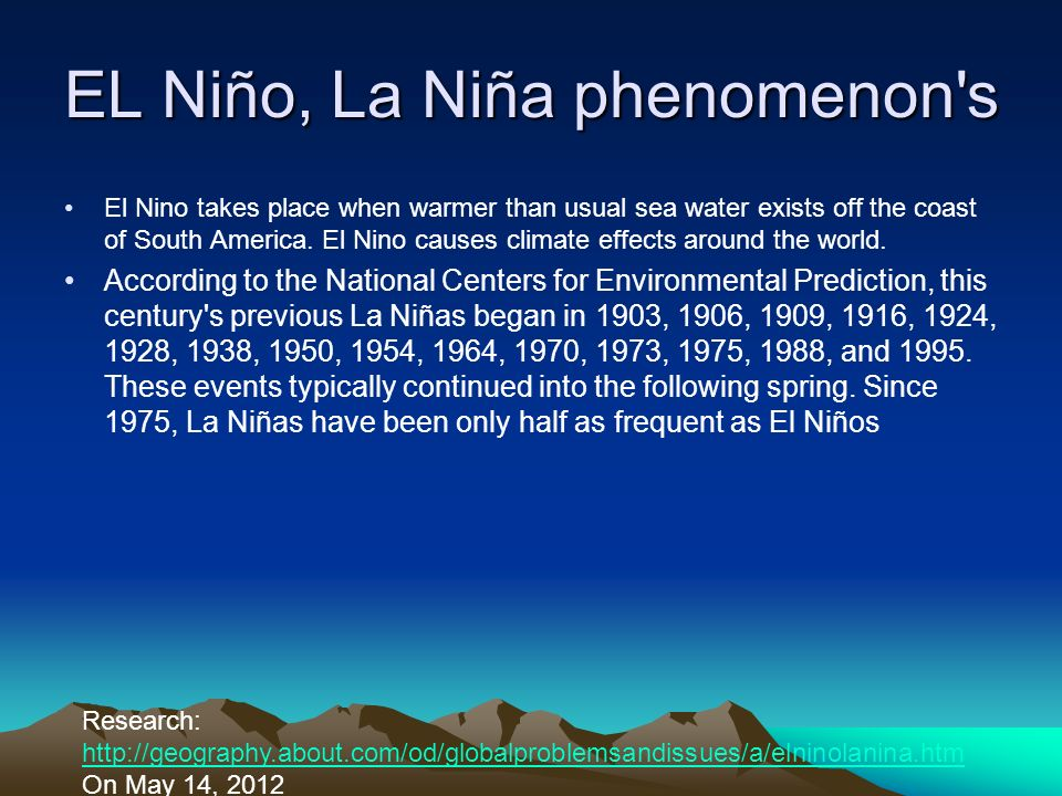 EL Niño, La Niña phenomenon s