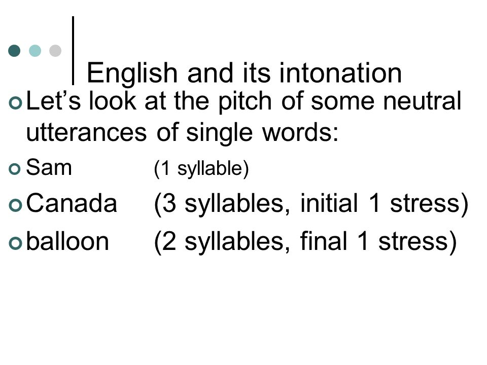 English and its intonation