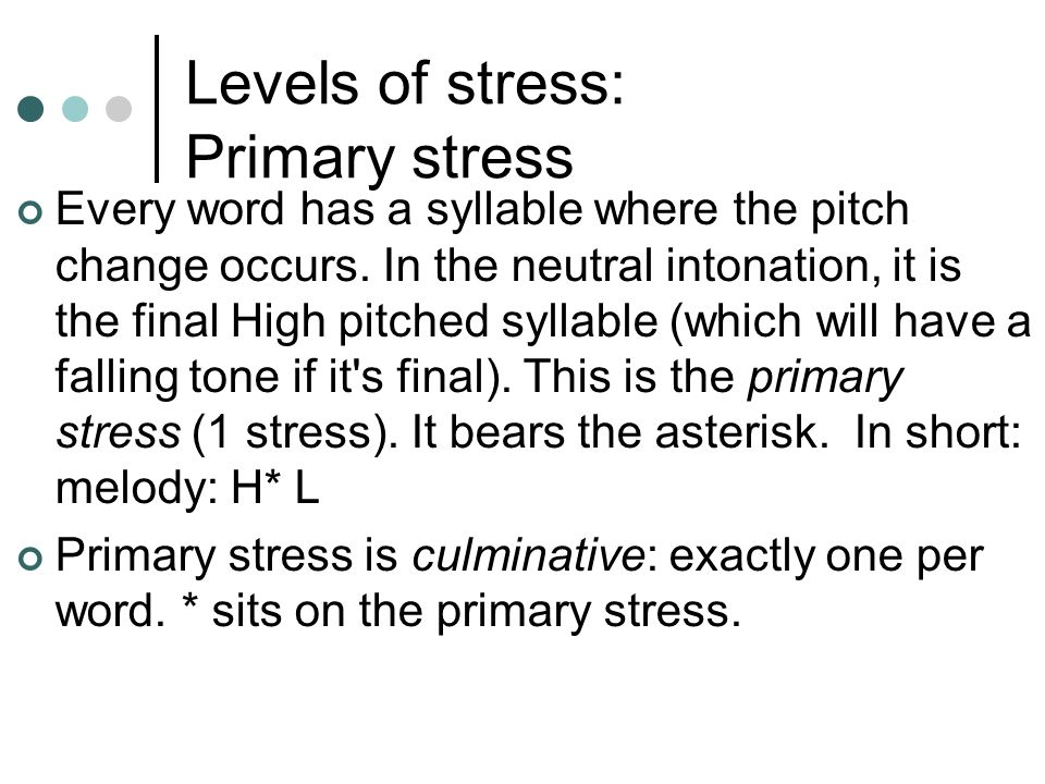 Levels of stress: Primary stress