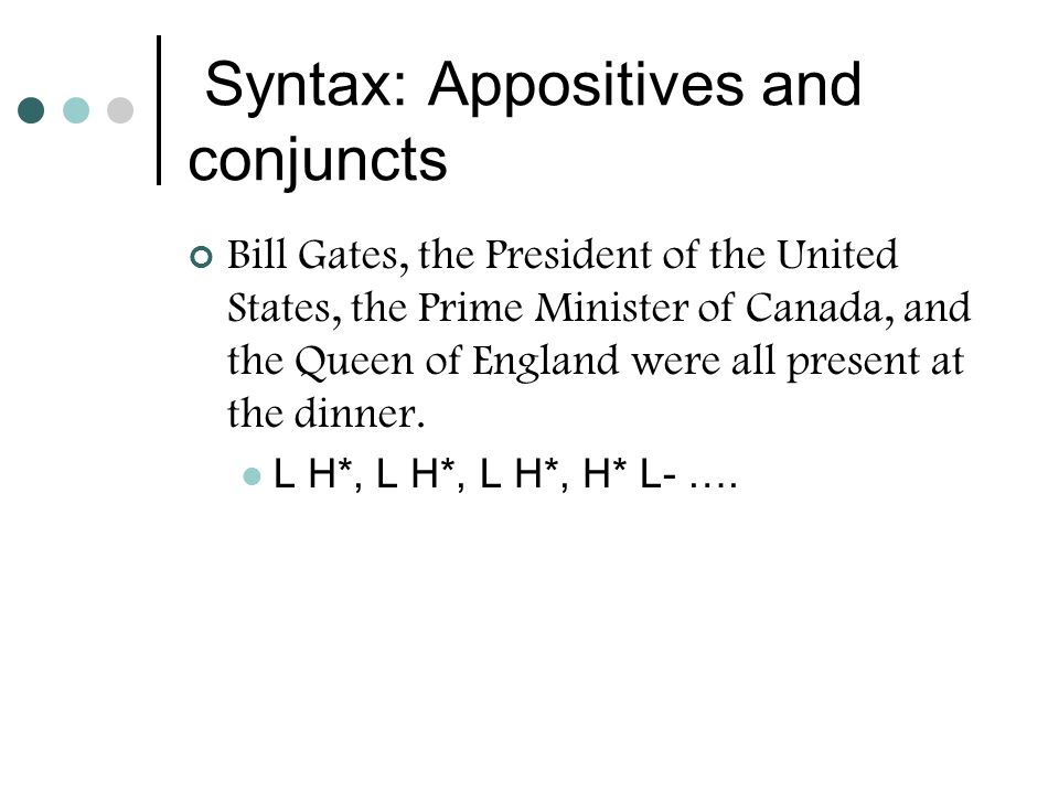 Syntax: Appositives and conjuncts