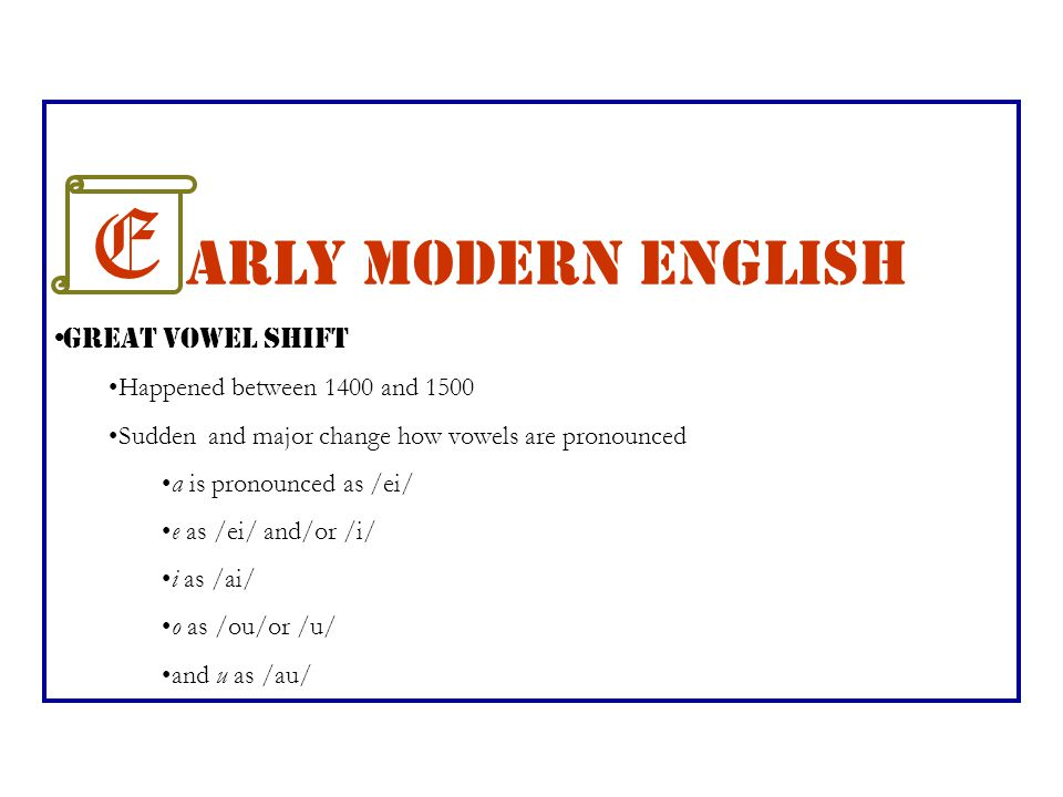 E arly Modern English Great Vowel Shift Happened between 1400 and 1500