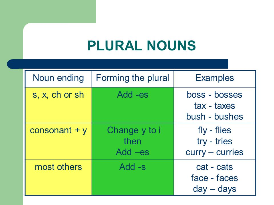 PLURAL NOUNS Noun ending Forming the plural Examples s, x, ch or sh