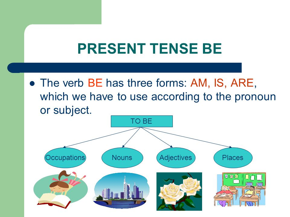 PRESENT TENSE BE The verb BE has three forms: AM, IS, ARE, which we have to use according to the pronoun or subject.
