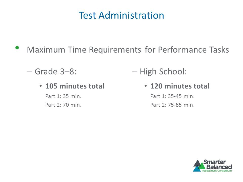 Test Administration Maximum Time Requirements for Performance Tasks