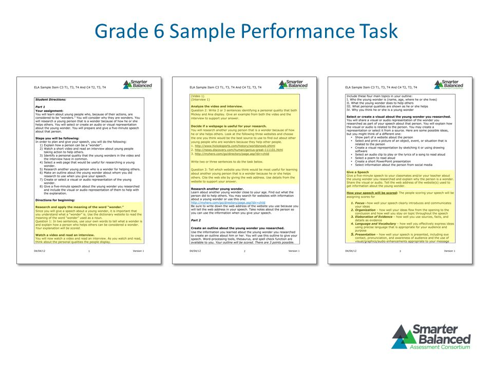 Grade 6 Sample Performance Task