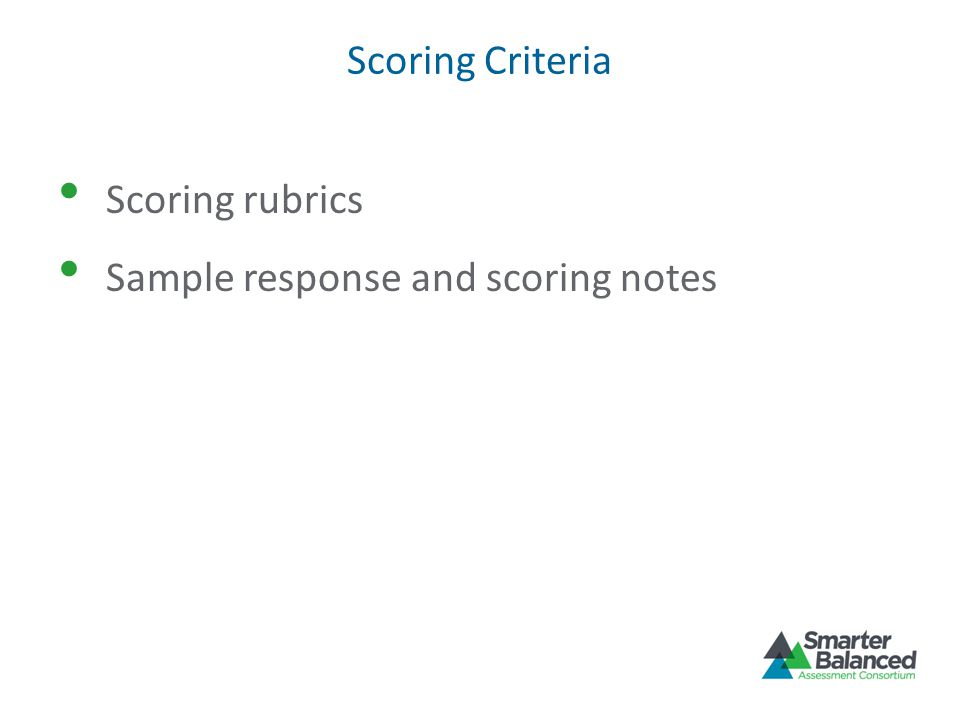 Sample response and scoring notes