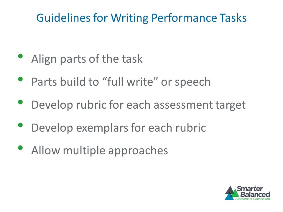 Guidelines for Writing Performance Tasks