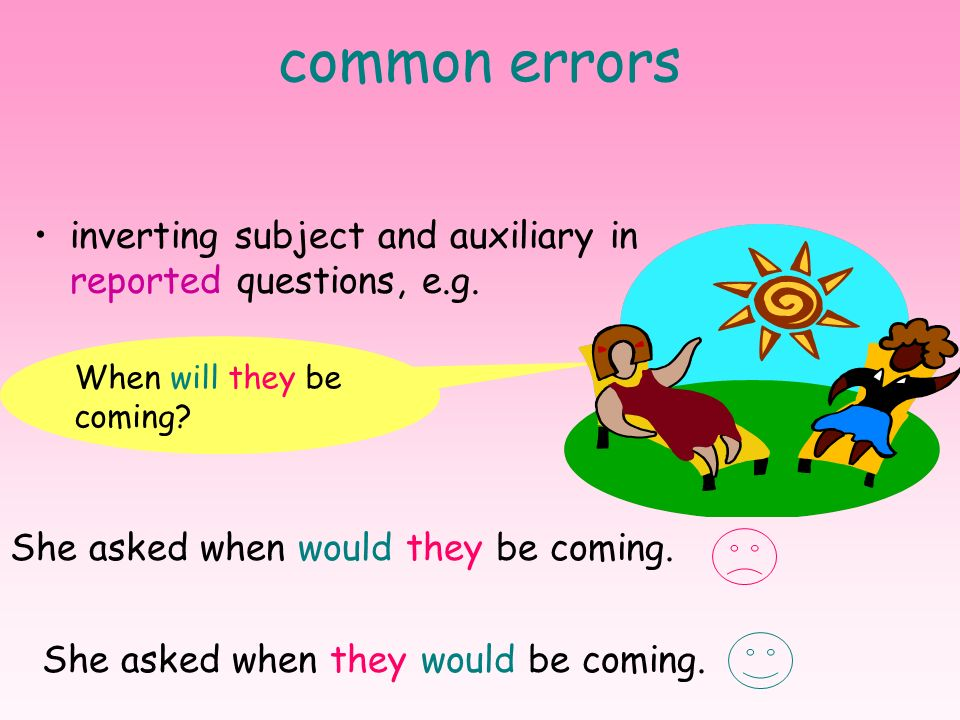 common errors inverting subject and auxiliary in reported questions, e.g. When will they be coming
