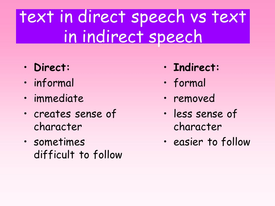 text in direct speech vs text in indirect speech