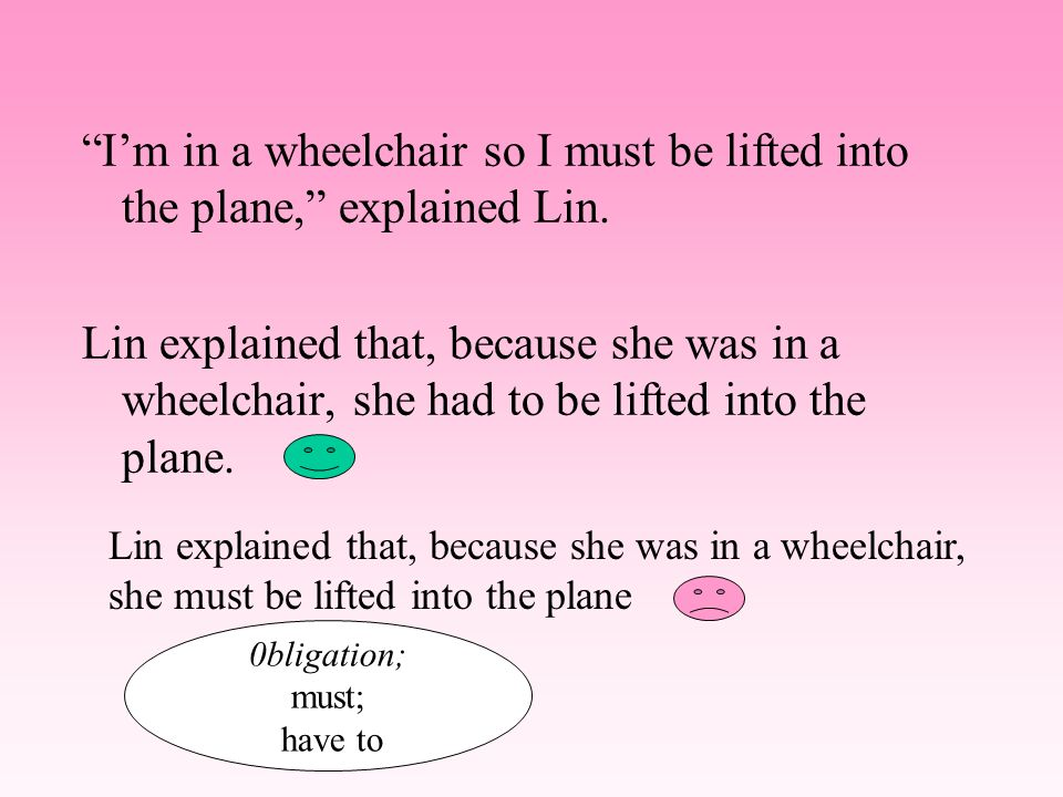 I'm in a wheelchair so I must be lifted into the plane, explained Lin.