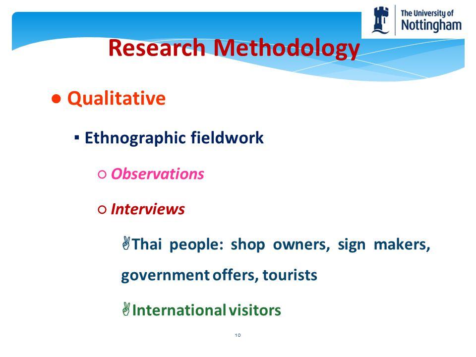 Research Methodology ● Qualitative ▪ Ethnographic fieldwork