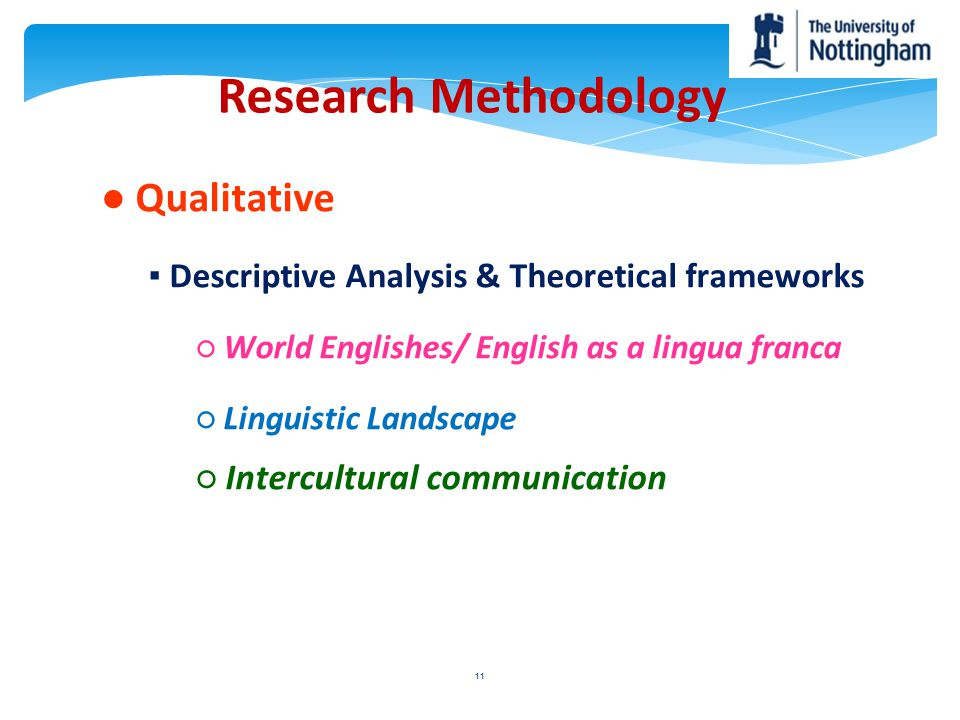 Research Methodology ● Qualitative ○ Intercultural communication