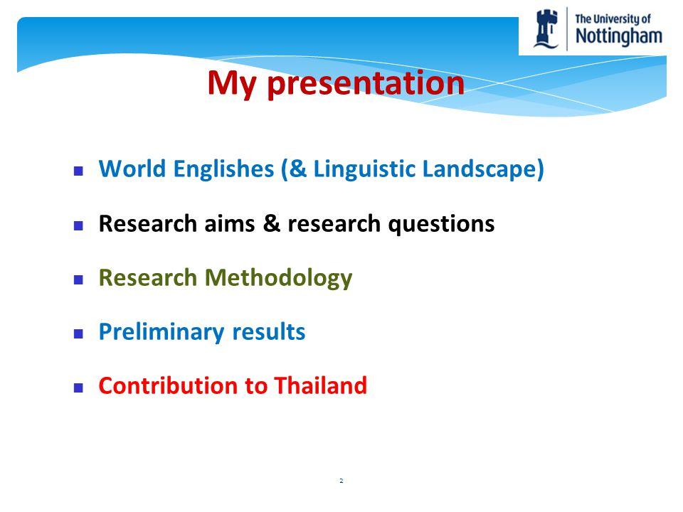 My presentation World Englishes (& Linguistic Landscape)