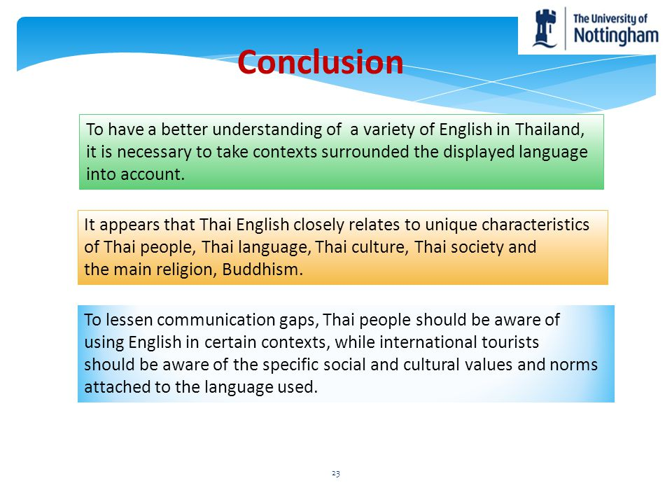 Conclusion To have a better understanding of a variety of English in Thailand, it is necessary to take contexts surrounded the displayed language.