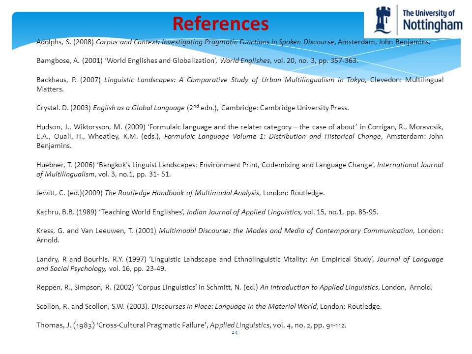 References Adolphs, S. (2008) Corpus and Context: Investigating Pragmatic Functions in Spoken Discourse, Amsterdam, John Benjamins.